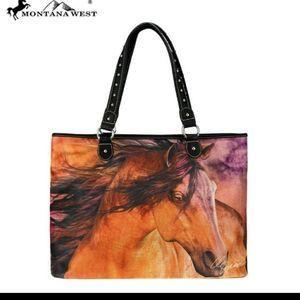 Montana West Horse Art Canvas Tote Bag